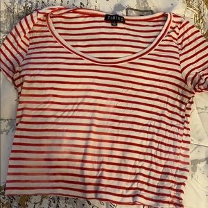 Striped red and white shirt